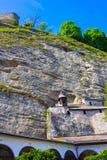 Salzburg Österrike - Maj 01, 2017: Hohensalzburg fästning, Salzburg på Österrike Arkivfoton