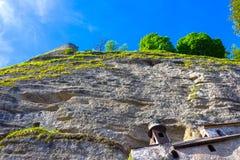 Salzburg Österrike - Maj 01, 2017: Hohensalzburg fästning, Salzburg på Österrike Royaltyfri Bild