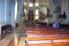 Salzburg Österrike - Maj 01, 2017: Inre av den Salzburg domkyrkan - detaljer Royaltyfri Foto