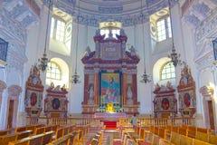 Salzburg Österrike - Maj 01, 2017: Inre av den Salzburg domkyrkan - detaljer Arkivbild