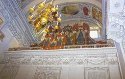 Salzburg Österrike - Maj 01, 2017: Inre av den Salzburg domkyrkan - detaljer Fotografering för Bildbyråer