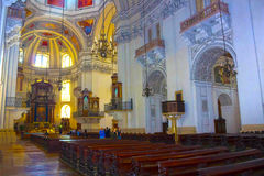 Salzburg Österrike - Maj 01, 2017: Inre av den Salzburg domkyrkan - detaljer Royaltyfria Foton