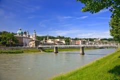 Salzburg. View on Salzach river and Salzburg, Austria Stock Photos