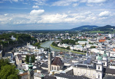 Salzburg. A view out over the historic city of Salzburg, Austria, from the castle stock image