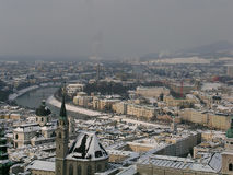 Salzburg. Panoramic view of Salzburg in winter royalty free stock image
