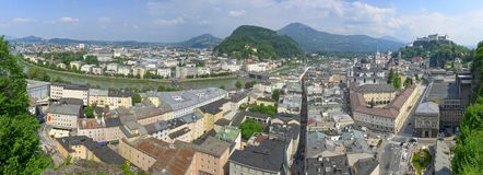 The Salzburg Altstadt as seen from the Bürgerwehr Mönchsberg royalty free stock images