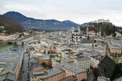 Salzburg, Austria. A view of the old district of Salzburg, Austria, with the castle overlooking it royalty free stock photos