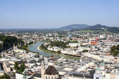 Salzburg Austria. Panoramic view of Salzburg Austria showing city, Salzach river and the Alps mountains Stock Photo