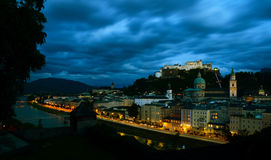 Salzburg in Austria. A city view of the city of salzburg in austria at night Stock Photo