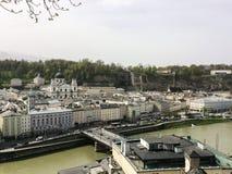 Salzburg/Austria - April 5 2016: view over the city center of Sa stock images