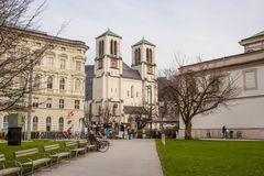 St. Andrew`s Church on Mirabell platz in Salzburg, Austria Stock Images