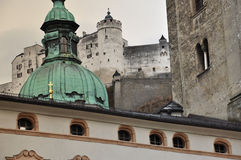 Salzburg, Austria. Baroque architecture and castle. Royalty Free Stock Images