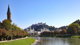 Salzburg, Austria, birthplace of the composer, Mozart. A view of historic Salzburg, Austria, home of Mozart the composer, and the set of the movie The Sound of royalty free stock images
