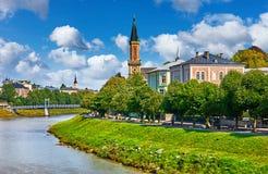 Salzburg Austria bulwar rzeczny Salzach widok Obraz Royalty Free