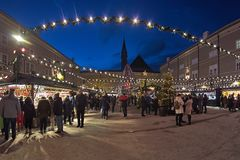 Christmas market at the Cathedral Square in Salzburg, Austria royalty free stock image