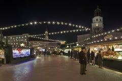 Christmas market at the Residenzplatz square in Salzburg, Austria stock image