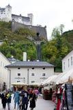 Bottom view of Festung Hohensalzburg. Royalty Free Stock Image