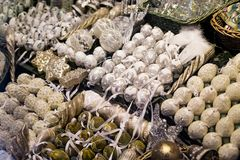White and golden colors christmas toys. Royalty Free Stock Images