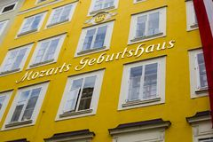 House-Museum of the composer Amadeus Mozart. SALZBURG, AUSTRIA - CIRCA OCT 2017: Mozart`s Birthplace Museum. Historical famous building. House-Museum of the Stock Photography