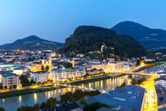 Salzburg Austria at dusk Royalty Free Stock Photography