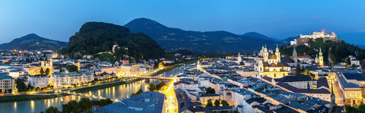 Salzburg Austria at dusk panorama Stock Images