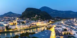 Salzburg Austria at dusk panorama Stock Photos