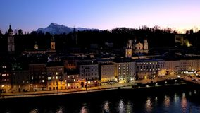 Salzburg in the evening, Austria stock video footage