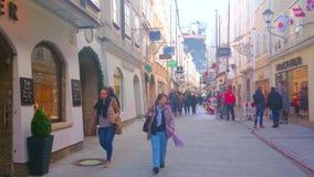 Enjoy the shopping in old Salzburg, Austria stock video footage