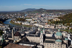 Salzburg Austria inner city with churches. Panorama of Salzburg Austria inner city with churches Stock Photo