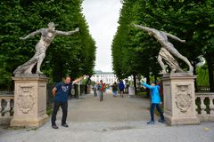 Entrance of the Mirabell palace gardens in Salzburg Stock Image