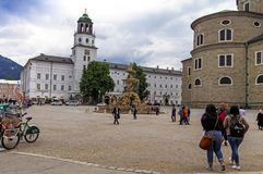 View of the white building of the Museum of Salzburg. Austria Royalty Free Stock Image