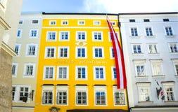 Salzburg Austria, Maj, - 01, 2017: Miejsce narodzin Mozart w Salzburg w Austria Zdjęcia Stock