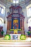 Salzburg Austria, Maj, - 01, 2017: Wnętrze Salzburg katedra - szczegóły Obrazy Stock