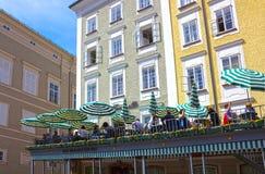 Salzburg, Austria - May 01, 2017: The cafe Tomaselli at old town in Salzburg,Austria. royalty free stock photo