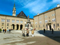 Salzburg, Austria - May 01, 2017: Classic view of famous Maria Immaculata sculpture at Domplatz square Stock Photo