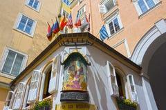 Salzburg, Austria - May 01, 2017: The Zum Eulenspiegel bar and restaurant at old town in Salzburg,Austria. stock photography