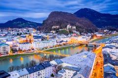 Salzburg, Austria - nightscene. Austria, Salzburg, panoramic skyline with Hohensalzburg over Salzach River, Salzburger Land royalty free stock photography