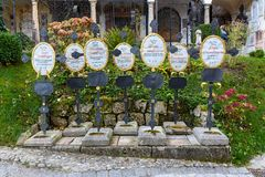 Petersfriedhof or St. Peter`s Cemetery in Salzburg. Austria royalty free stock image