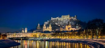 Salzburg in Austria at night royalty free stock photos