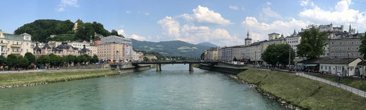 Salzburg, Austria and Salzach River Bridges Panorama stock photo