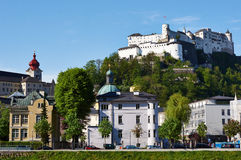 Salzburg, Austria. Scenery of houses and fortress in Salzburg, Austria Stock Photo