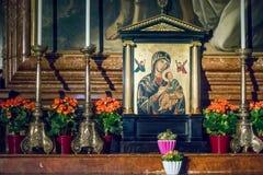 SALZBURG/AUSTRIA - SEPTEMBER 19: Sikt av ett altare i Salzburg C royaltyfri bild