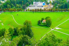 Salzburg city from high point of view in Salzburg Fort and castl Stock Photography