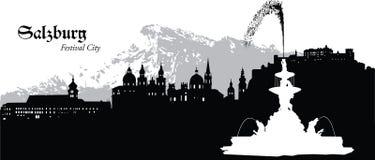 Salzburg, Austria. Vector illustration of the skyline cityscape of Salzburg, Austria Stock Image