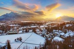 Salzburg bij zonsondergang - Oostenrijk stock fotografie