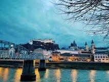 Salzburg bis zum Night Lizenzfreie Stockfotografie