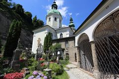 Salzburg cathedral church. Salzburg with blue sky at cathedral church square Royalty Free Stock Photos