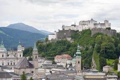 Salzburg and castle Hohensalzburg top view. Royalty Free Stock Photo