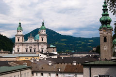Salzburg Cathedral and Alps Royalty Free Stock Images