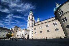 Salzburg with blue sky at cathedral church square. Salzburg catheral church square with blue sky Royalty Free Stock Photo